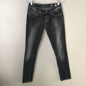 Miss Me charcoal cross embellished skinny jeans